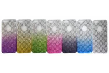 Силиконовая накладка Омбре с блеск.узоры Iphone 6 зел-бел