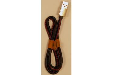 Кабель USB для Iphone 5,6s 8 pin, кожанный, черный, 1м
