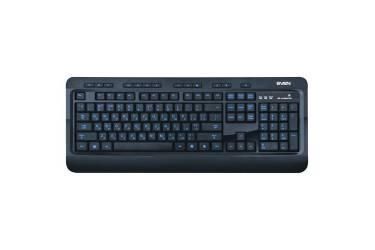 Клавиатура Sven 7600 EL Comfort Multimedia, с подсветкой, USB, чёрная