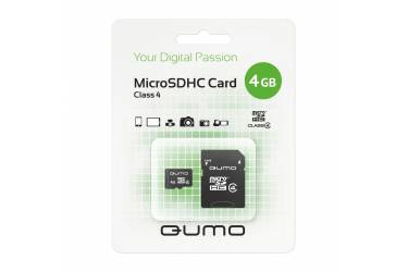 Карта памяти MicroSDHC Qumo 4GB Class 4+adapter