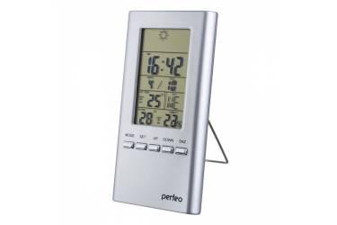 "Часы-метеостанция Perfeo ""Meteo"", серебряный,(PF-S3331F) время, темп., датчик ул. темп., лажность"