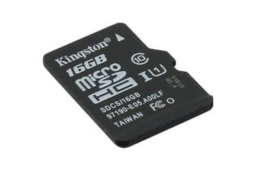 Карта памяти MicroSDHC 16GB Class 10 Kingston Canvas Select UHS-I (80/10MB/s)