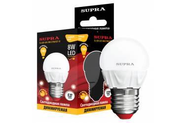 Лампа светодиодная SUPRA_G45-08W-Dim/2700/E27-D _диммируемая _шар