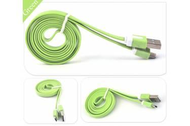 Кабель GAL micro USB 1m зеленый, плоский