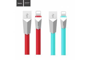Кабель USB Hoco X4 Zinc Alloy Rhombic Lightning (1.2m) Красный