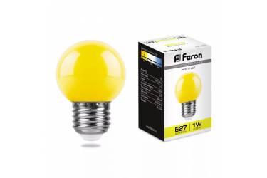 Лампа светодиодная FERON_DECO GL45_1W/_YELLOW_E27_желтый  шар