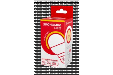 Лампа светодиодная ЭКО_Экономка _GL45 (P45)_9W/3000K_ E14 _ШАР