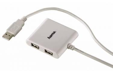 Разветвитель USB 2.0 Hama Square1:4 4порт. белый (00039874)