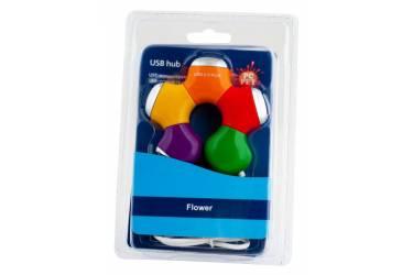 Разветвитель USB 2.0 PC Pet Flower 4порт. разноцветный