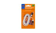 Кабель GAL micro USB 1m белый плоский