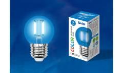 Лампа светодиодная UNIEL COLOR LED-G45-5W/BLUE/E27 GLA02BL синяя
