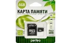 Карта памяти Perfeo MicroSDHC 4GB Class 4 + adapter