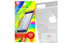Защитное стекло цветное Krutoff Group для iPhone 5/5S на две стороны с 3D-рисунком (silver)