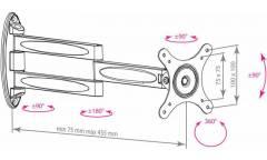 "Кронштейн для телевизора Kromax TECHNO-11 черный 10""-32"" макс.15кг настенный поворот и наклон"