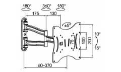 "Кронштейн для телевизора Kromax TECHNO-3 белый 15""-40"" макс.20кг настенный поворот и наклон"