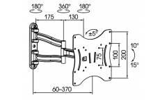 """Кронштейн для телевизора Kromax TECHNO-3 серый 15""""-40"""" макс.20кг настенный поворотно-выдвижной и наклонный"""