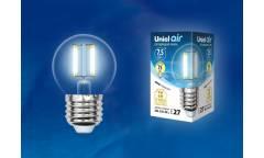 Светодиодная (LED) Лампа FIL (прозрачная) Uniel LED-G45-7,5W/NW/E27/CL Air шар прозр