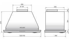 Вытяжка встраиваемая Elikor 72Н-1000-Э4Д Врезной блок нержавеющая сталь управление: кнопочное (1 мотор)