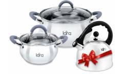 Набор посуды LARA LR02-103 Bell, 3 пр., (кастр. 2.7л + 4,7л + чайник 2,5л ) стеклян. крышки