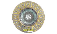 Светильник точечный_DE FRAN_ FT 196 SNG MR16 сатин-никель+золото со стразами