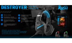 Игровая гарнитура RUSH DESTROYER, динамики 50мм, гибкий микрофон, черн/зелен