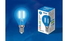 Лампа светодиодная UNIEL COLOR LED-G45-5W/BLUE/E14 GLA02BL синяя