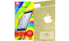 Защитное стекло цветное Krutoff Group для iPhone 6/6S на две стороны с 3D-рисунком (gold)