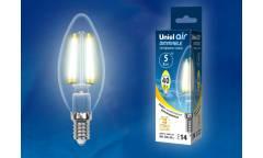 Светодиодная (LED) Лампа FIL (прозр. - ДИММЕР) Uniel LED-C35-5W/WW/E14/CL/DIM