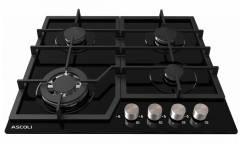 Варочная поверность газовая Ascoli HGG604– 20CAB черный стекло ч/р газ-контроль автоподжиг