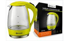 Чайник электрический Eurostek EEK-2205 стекло с подсветкой 1,7 пластик зелёный