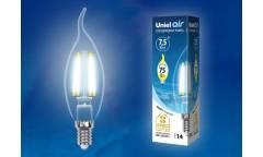 Светодиодная (LED) Лампа FIL (прозрачная) Uniel LED-CW35-7,5W/WW/E14/CL Air свеча на ветру