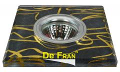 Светильник точечный_DE FRAN_ FT 789 MR16 роспись квадрат хром/черный+золото