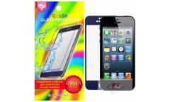 Защитное стекло цветное Krutoff Group для iPhone 5/5S на две стороны (blue)