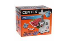 Мясорубка Centek CT-1610 белый 1500Вт, реверс, 2 стальных диска, стальной нож и узлы