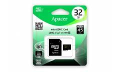 Карта памяти Apacer MicroSDHC 32GB Class 10 UHS-I (45MB/s) + adapter