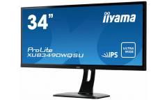 "Монитор Iiyama 34"" ProLite XUB3490WQSU-B1 черный IPS LED 5ms 21:9 (Ultrawide) HDMI M/M матовая HAS Pivot 320cd 178гр/178гр 3440x1440 DisplayPort USB 8.5кг"