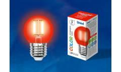 Лампа светодиодная UNIEL COLOR LED-G45-5W/RED/E27 GLA02RD красная