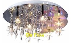 Люстра_DE FRAN_ NL4-0022-08CH _G4 _8*20Вт+LED _панель,  хром+кристаллы, d45 см
