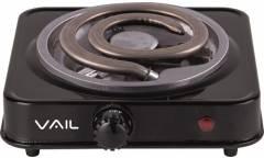 Плитка электрическая настольная Vail VL5213 черный 1000Вт 1конфорка толстая спираль