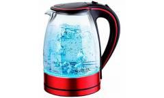 Чайник электрический Centek CT-1009 BLR (красный/черный) стекло, 1.7л, 2200Вт, внутренняя LED подсв