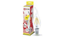 Лампа светодиодная ASD LED-СВЕЧА НА ВЕТРУ-deco 7Вт 230В Е14 3000К 630Лм прозрачная IN HOME