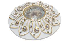 Светильник точечный_DE FRAN_ FT 204 WG MR16 белый+золото со стразами
