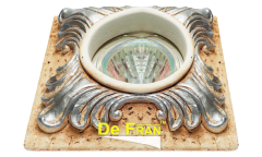 Светильник точечный_DE FRAN_ FT 414 MR16 гипс серебро квадрат 105х105
