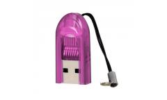 Кардридер Perfeo Card Reader Micro SD, (PF-VI-R015 Purple) фиолетовый