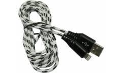 Кабель USB Smartbuy Apple 8-pin нейлон,защ. от перелам. 3 м, до 2А, белый