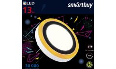 Накладной (LED) светильник с оранж. подсветкой DLB Smartbuy-13w/6500K+O/IP20, d=195 мм, 3 реж., круг