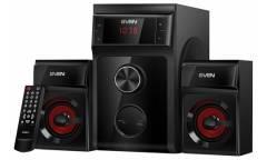 Компьютерная акустика Sven MS-302 2.1, FM-тюнер, USB/SD, дисплей, ПДУ, мощн. 20 Вт+2х10 Вт, чёрная