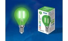 Лампа светодиодная UNIEL COLOR LED-G45-5W/GREEN/E14 GLA02GR зелёная