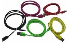 Кабель USB micro ткань плоский зеленый