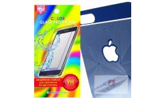 Защитное стекло цветное Krutoff Group для iPhone 5/5S на две стороны с 3D-рисунком (blue)
